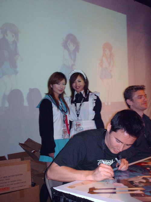 Crispin Freeman And The Other Dub Voice Actors From Melancholy Of Haruhi Suzumiya Doing An Autograph Session Actresses Who Play Yuki